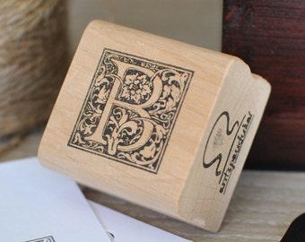 Letter B Rubber Stamp, Monogram B stamp, Wood Mounted Rubber Stamp, Alphabet letter B stamp