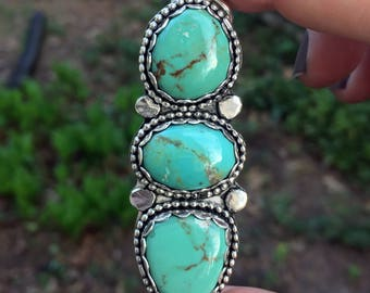 Sale! Was 345, now 285! Turquoise Pendant - Statement Turquoise Necklace - Evans Turquoise - Green Turquoise - Sterling Silver - Turquoise