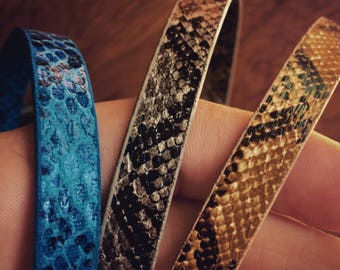 Black Faux Leather Wrap Bracelet. Snake Print. Wrap Around. Black, Baby Blue, Grey, or Mustard. Rocker. Steampunk. Rock. Punk.
