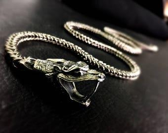 DRAGON SCALE Silver Long Adjustable Lariat Unisex Necklace