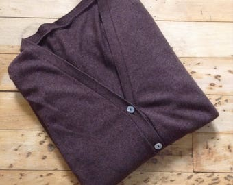 Women Winter Sweater Cardigan - Chocolate Brown Cashmere Blend with Genuine Abalone Buttons- Made in Italy - New - L