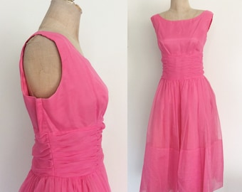 1950's Barbie Pink Chiffon Prom Dress Tea Length Party Dress Size Large by Maeberry Vintage