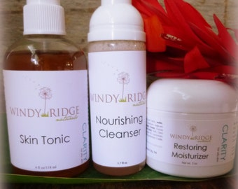 CLARITY Essentials SKINCARE SET oily blemish prone skin. All Natural. by Windy Ridge Naturals
