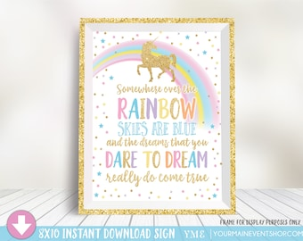 Unicorn Party Sign • Unicorn Birthday Party Sign • Somewhere Over The Rainbow Instant Download Printable