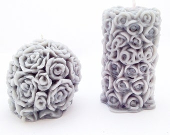 Pair of Rose Candles, Pillar Candle, Ball Candle, Round Candle, Floral Candle, Pretty Candle, Candle Set, Colourful Candle, Rose Candle