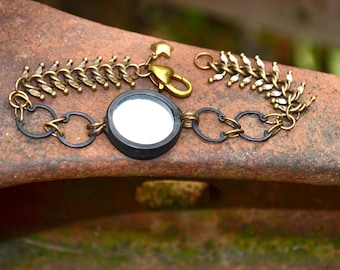 eclipse bracelet handmade assemblage bracelet with mirror and star charm and vintage fishbone chain handmade jewelry gift