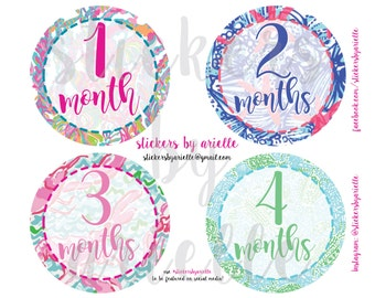 Month by Month Baby Girl Stickers - Lilly Pulitzer Inspired