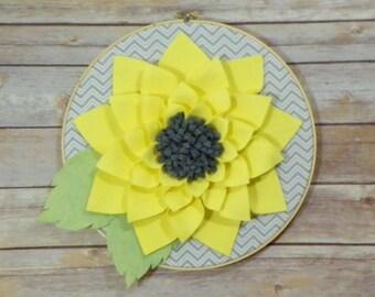 12 Inch Yellow Felt Dahlia Flower Hoop Art
