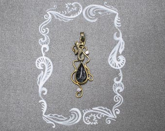 Dainty gold necklace. Seahorse pendant with rutilated quartz. Gold plated pendant