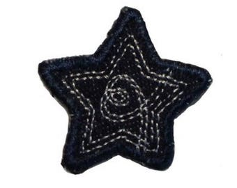 ID 3430A Blue Jean Stitched Star Patch Badge Craft Embroidered Iron On Applique