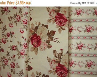 Rose Fabric, Sewing Supplies, Cotton Fabric, Cabbage Roses, Fabric by the Yard, Upholstery Fabric, Pillows.