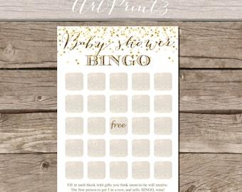 Baby Shower Bingo Printable Game, Printable Baby Shower Game, Gold Confetti Baby Shower Printable, Baby Shower Decor, Instant Download Print