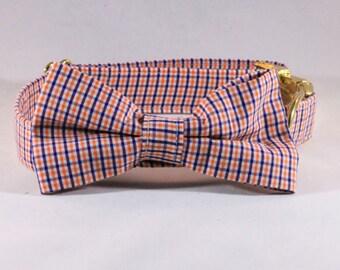 Preppy Navy and Orange Gingham Dog Bow Tie Collar, Check Plaid Auburn University Tigers