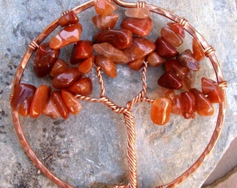 Copper Sunset Tree with Red Agate Pendant Necklace