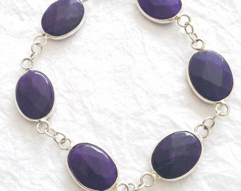 Purple Dyed Faceted Jade Medium Oval Stone Bezel with .925 Sterling Silver, The Honesty Bracelet