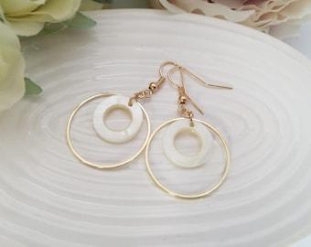 Gold hoop earrings, gold shell earrings, mother of pearl, gold earrings, circle drop earrings, geometric earrings, dangle earrings