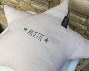 Customizable powder pink linen star cushion