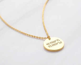 Silver coordinates jewelry • Latitude longitude jewelry necklace • Best friend necklace • Going away gift CCN07