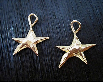 Whimsical Artisan Handmade Star Earring Charms in Gold Bronze (set of 2) (A)