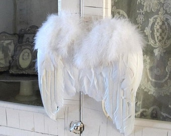 Christmas White Feather ANGEL WINGS Ornament Decoration Shabby Chic White Ornament Victorian Country Cottage Decoration