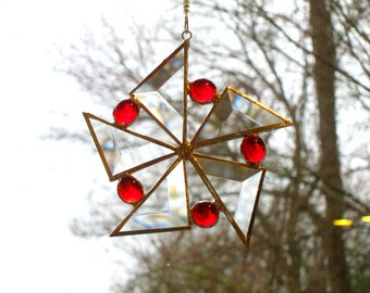 Red Sun Catcher Stained Glass Star Flower Christmas Ornament Beveled Snowflake Handmade OOAK