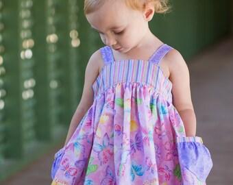 Girls Dress Pattern - Lemon Drop Dress for Girls - PDF Dress Pattern - Sun Dress Pattern - Top and Dress Pattern PDF - Sewing Pattern PDF