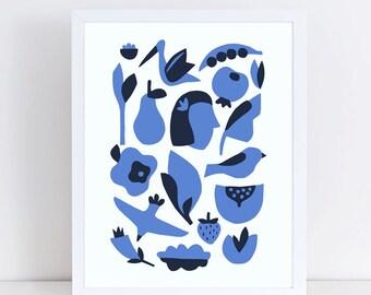Scandinavian art, mid century art, blue artwork, bird prints, flower, girl, silhouette, modern art, minimalist art, scandinavian print
