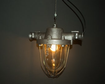 Restored Industrial vintage metal cage lamp from Polish old factory