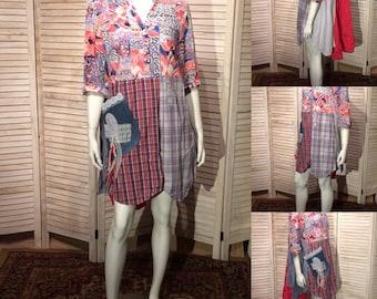 Upcycled Dress Upcycled Clothing Artsy Tunic Shirt Top w Tribal Print Voile, Stripes & Plaid Cotton Patchwork Boho Chic Junk Gypsy Sz XL XXL