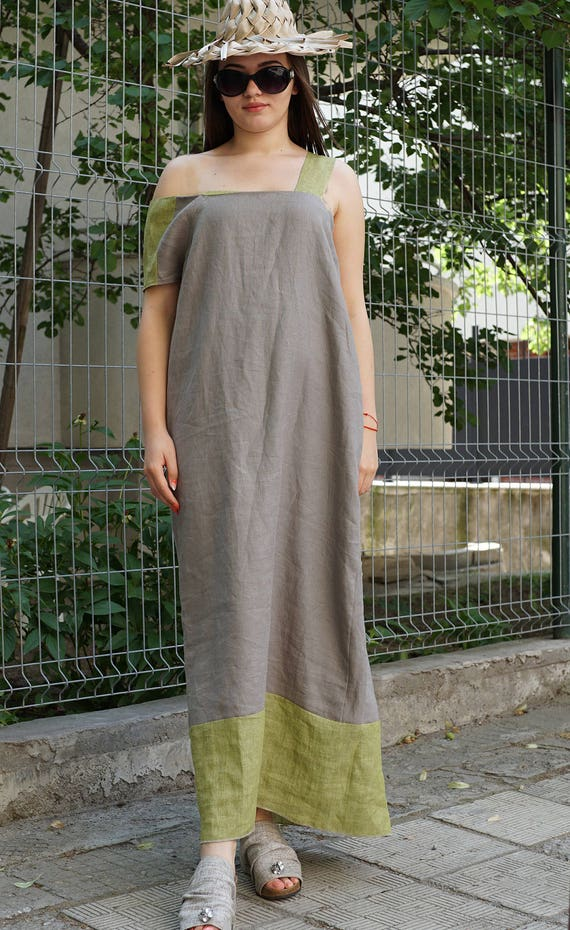 Linen Abaya Dress | Maxi Summer Dress | Long Linen Dress | Asymmetric Loose Fit Dress | Caftan Dress | Kaftan Dress | Smock Linen Dress