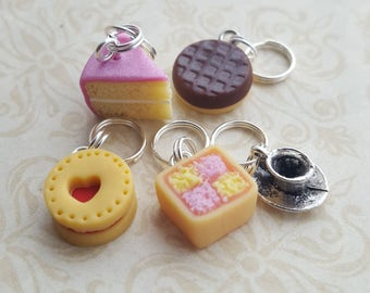 Cake stitch markers for knitting, novelty  stitch markers, biscuit and cake  themed knitting  accessory, for knitting or crafts