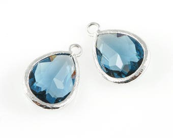 2pcs Montana Blue Teardrop Glass Charm in Rhodium, Framed Drop Glass Gem / Birthstone / September / Sapphire / 11.5mm x 17mm / GMBRH-005-P
