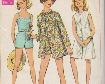 Bust 36-1960's Misses' Coat-Dress or Beach-Jacket and Bathing-Suit With Panties Simplicity 7697 Size 14