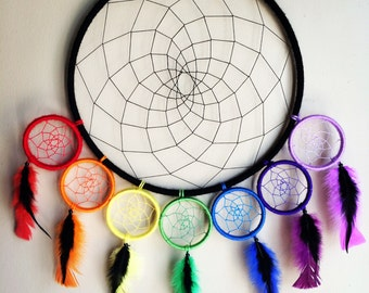 Custom Large Black and Rainbow Chakra Dreamcatcher