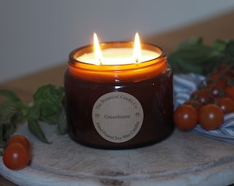 Greenhouse Scented Soy Wax Candle in 500ml Amber Jar