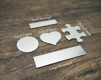 Single Heart Charm Add On, Keychain Add On, Heart Charm, Stainless Steel, Personalized, Rectangle, Circle