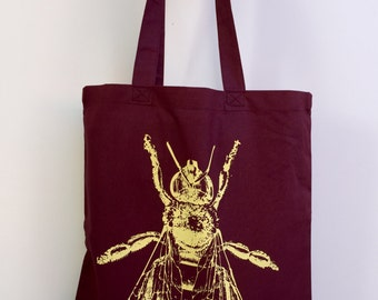 HONEY Bee - Eco-Friendly Market Tote Bag - Hand Screen printed (Ships FREE!)
