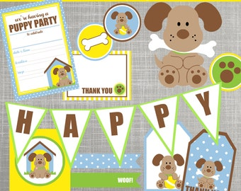 Puppy Dog Birthday Party Decorations - Puppy Dog Baby Shower Decorations - PRINTABLE / DIY - Playful Puppy Collection