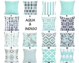 Aqua Navy Throw Pillow Covers Cushions Decorative Throw Pillows Pastel Aqua Indigo Navy Taupe White Couch Bed Sofa Blue PillowsVARIOUS SIZES
