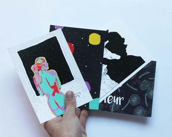 Set of 4 postcards / postalcards 4 pack.