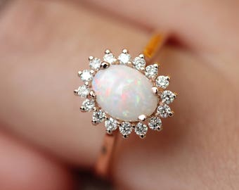 Opal engagement ring, diamond halo ring in rose gold, pink gold opal ring, October Birthstone