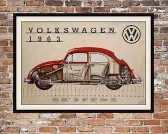 Volkswagen Bug Cutaway of 1963 Vintage Volkswagen Beetle, Volkswagen Beetle or Bug VW Bug Art Vintage Advertising of Volkswagen Item 0111