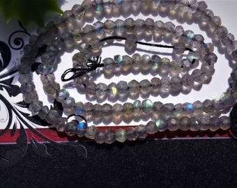 Natural Labradorite Faceted Rondelle Beads 3.5-4 mm ,Grade AA, 13 inch strand,semi-precious stone,DIY jewelry beads, jewelry supply