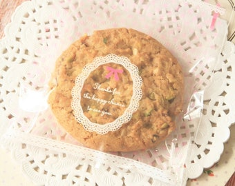 "Mini clear gift bags - cookie bags - lace and dots - Approx 4"" - Candy bag - resealable, cookie packaging, gift wrapping, cellophane bag"