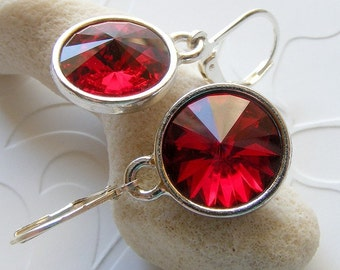 Swarovski Siam Red Rivoli Earrings in Simple Settings with Leverbacks. Round. Prism. Faceted. Crystal.
