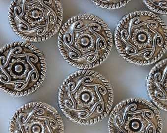 set of 4 silver metal disc beads