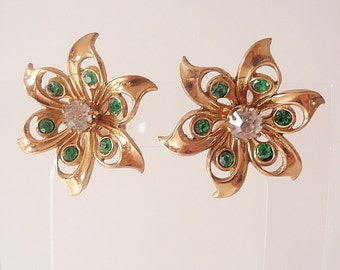 Coro Vintage Earrings, Emerald Green and Clear Rhinestones, goldtone
