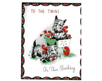 Vintage Original unused Greeting card Birthday Twins-