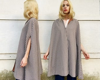 Vintage 60s Brown + White Mini Checkered Polyester Hook Front Long Cape One Size