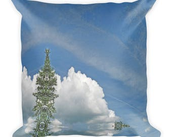 Fluffy White Cloud Kaleidoscope Square Pillow